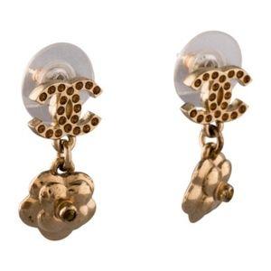 CHANEL Jewelry - Gold Crystal CC Logo Drop Camellia Flower